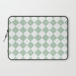 Rustic Farmhouse Checkers in Sage Green and White Laptop Sleeve