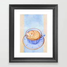 Cat in Coffee Framed Art Print