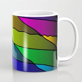 Slanting rainbow lines and rhombuses on pink with intersection of glare. Coffee Mug