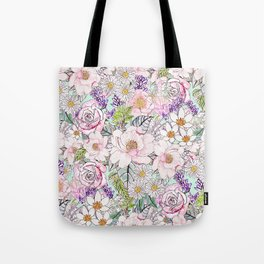 Watercolor garden peonies floral hand paint Tote Bag