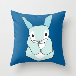 Blue Bunny Rabbit Throw Pillow