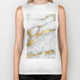 White and Gray Marble and Gold Metal foil Glitter Effect Biker Tank