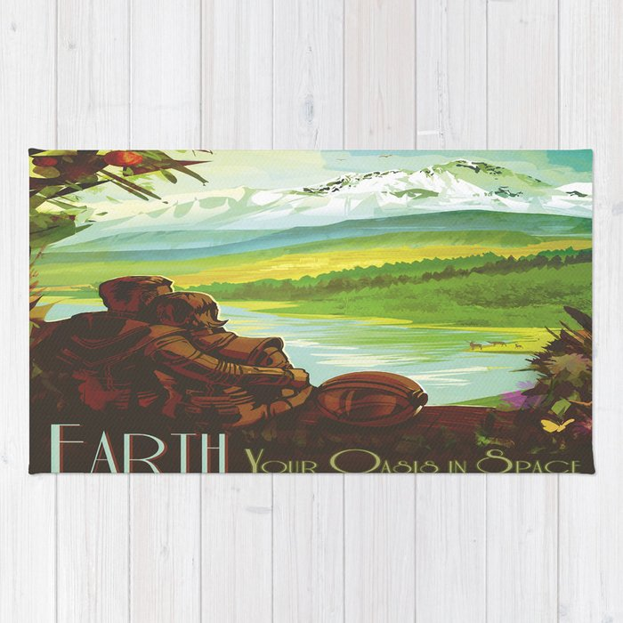 Earth Retro Space Poster Rug