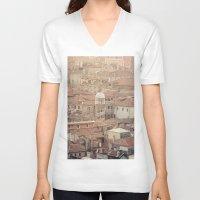 venice V-neck T-shirts featuring Venice by Yolanda Méndez