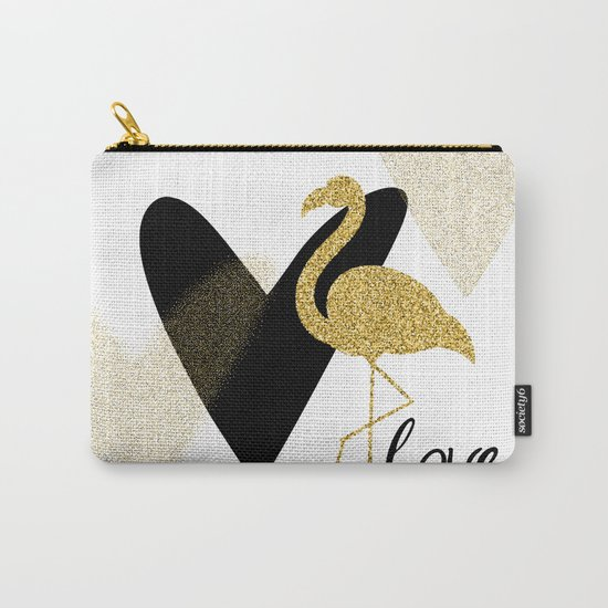 Love Flamingo Carry-All Pouch