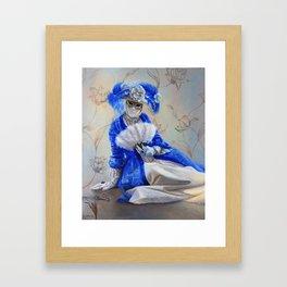 A Woman in blue gown and the Venetian Mask: Hidden Framed Art Print