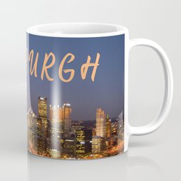 Pittsburgh, Pennsylvania Downtown Night Time River with Bridges Coffee Mug
