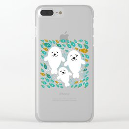 happy family of white seals and fish on a blue background. Clear iPhone Case