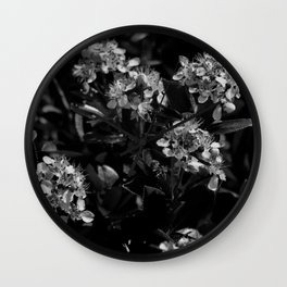 Stopping to Smell the Flowers at the Top of the Mountain Black & White Wall Clock
