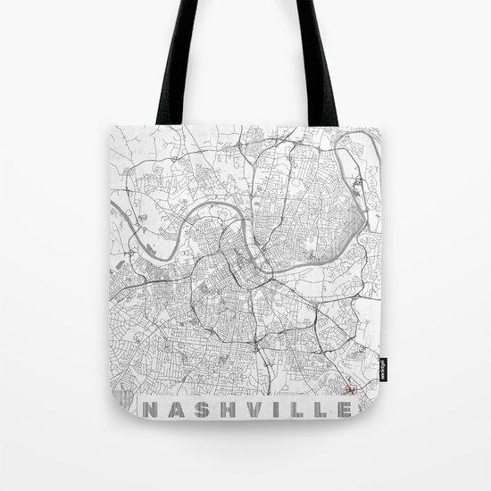 Nashville Map Line Tote Bag