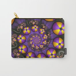 Playful Fractals Fun,  Modern Purple Yellow Spirals Carry-All Pouch