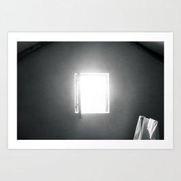 Open window on black and white Art Print