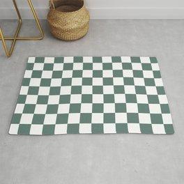 Checkered Pattern White and Dark Grayish Cyan - Lime Green Dark Teal Rug
