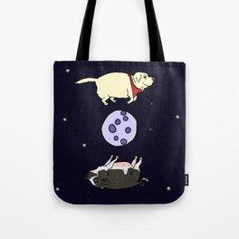 Dog and Pig Circle the Moon Tote Bag