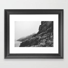 Rugged South Cornish Coast in sea mist. Framed Art Print
