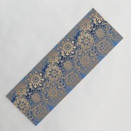 Blue and Gold Mandala Pattern Yoga Mat