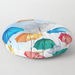 umbrellas flying Floor Pillow