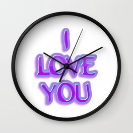 Purple and Blue I Love You Text Wall Clock