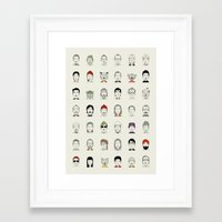 Framed Art Prints featuring The Characters of W by Alejandro Giraldo
