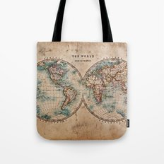 Vintage Map of the World 1800 Tote Bag