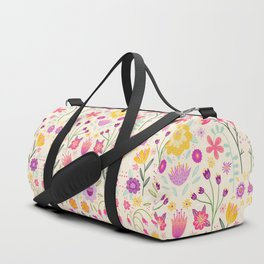 Bright Floral Symmetry Duffle Bag