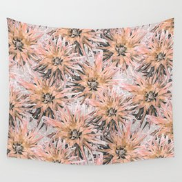 Peach with gray dahlias Wall Tapestry