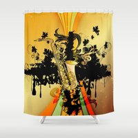 saxophone Shower Curtains featuring Saxophone by nicky2342