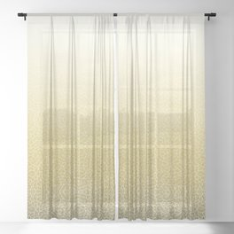 Faded yellow and white swirls doodles Sheer Curtain