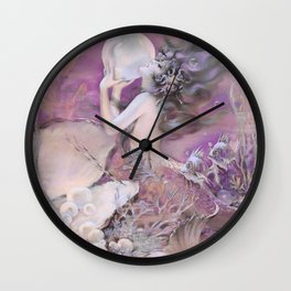Mermaid with Pearl Henry Clive Lavender Pale Pink Wall Clock