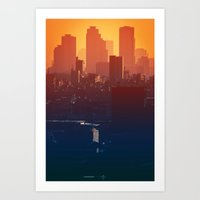 seoul Art Prints featuring Eastern Seoul by Aaron Frey