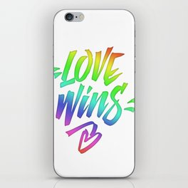 Love Wins Lettering with Rainbow colors Gradient iPhone Skin