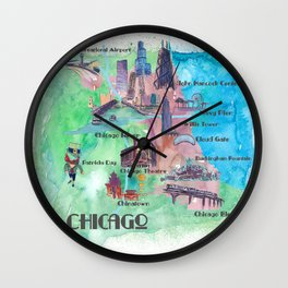 Chicago Favorite Map with touristic Top Ten Highlights in Colorful Retro Style Wall Clock