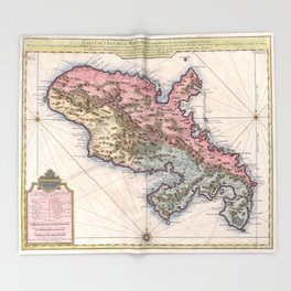 Vintage Map of Martinique Island (1742) Throw Blanket