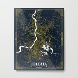 Kolkata City Map of India - Gold Art Deco Metal Print