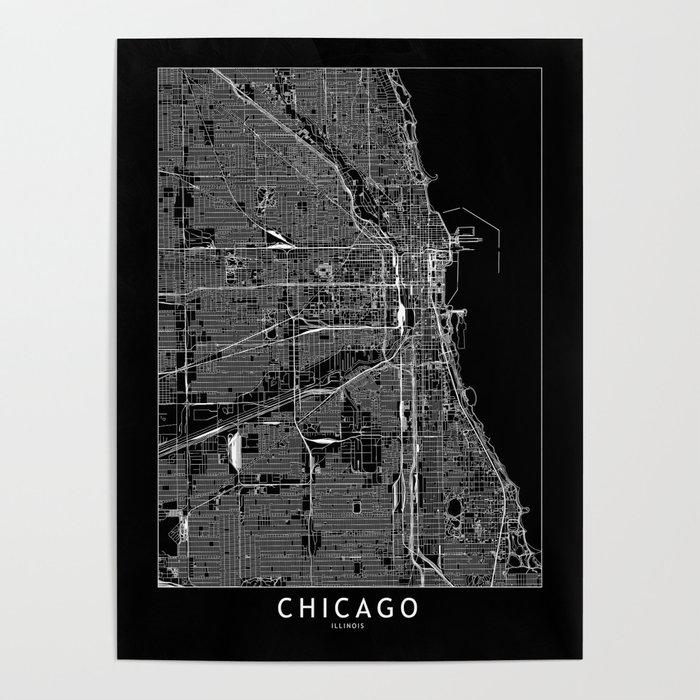 Chicago Black Map Poster