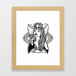 Lady Death. Pretty woman with flower and skull Framed Art Print