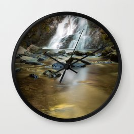 Amazing waterfall with rocks on the mountain Wall Clock
