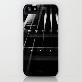 Guitar Cords Low Key Black & White Abstract Still Life Guitar Photograph iPhone Case