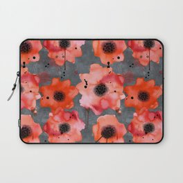 Watercolor poppies on gray background Laptop Sleeve