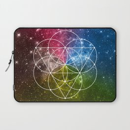 Seed of Life with Triangles - Sacred Geometry - Rainbow Colors - Galaxy Art - Universe - Yoga - Laptop Sleeve
