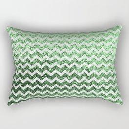 Glitter Sparkly Bling Chevron Pattern (green) Rectangular Pillow