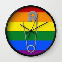 Gay Rights Safety Pin Wall Clock