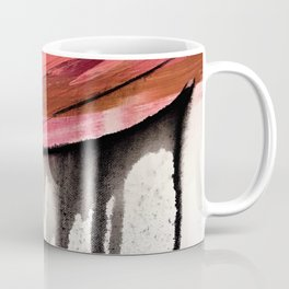 Entangled [4]: a vibrant, colorful abstract mixed-media piece in reds, pinks, black and white Coffee Mug