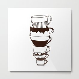 Brown and White Tea Cups Metal Print