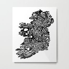 Typographic Ireland Metal Print