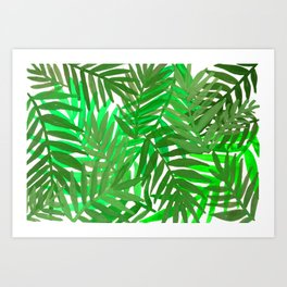 Tropical leaves : green Art Print