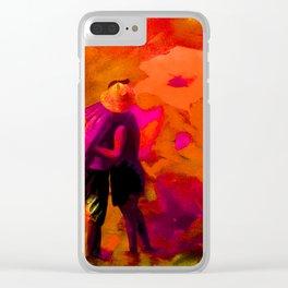 Dans les fleurs rouges Clear iPhone Case