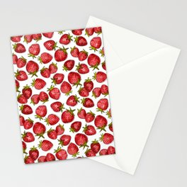 Watercolor Strawberries Stationery Cards