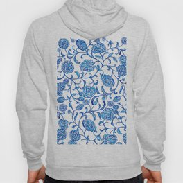 Blue Flowers on White by Fanitsa Petrou Hoody