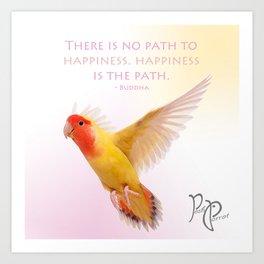 "Posh Parrot ""Happiness- Buddha"" Art Print"
